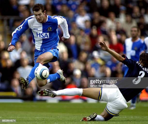 Blackburn Rovers' Brett Emerton skips past Dejan Stefanovic