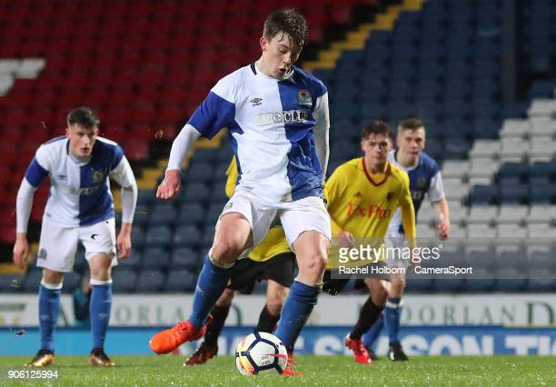 Blackburn Rovers Callum Wright scores his side's first goal from the penalty spot during the FA Youth Cup Fourth Round match between Blackburn Rovers...