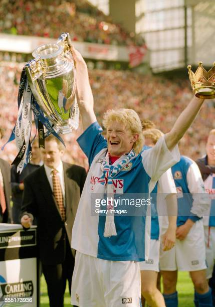 Blackburn Rovers captain Colin Hendry celebrates with the FA Carling Premiershiptrophy after the match against Liverpool at Anfield Road on May 14...