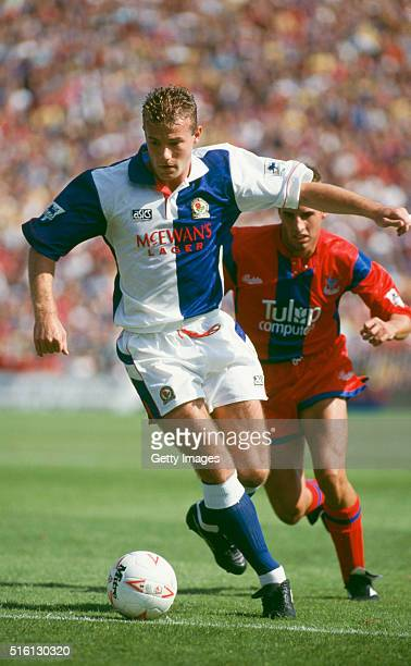 Blackburn Rovers centre forward Alan Shearer holds off Gareth Southgate during the FA Premiership match at Selhurst Park on August 15 in London...