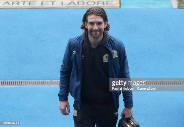 Blackburn Rovers' Charlie Mulgrew arrives at the ground during the Sky Bet League One match between Blackburn Rovers and Oldham Athletic at Ewood...