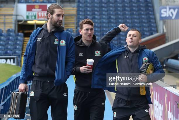 Blackburn Rovers' Charlie Mulgrew Blackburn Rovers' Richard Smallwood and Blackburn Rovers' Paul Caddis arrive at the ground during the Emirates FA...