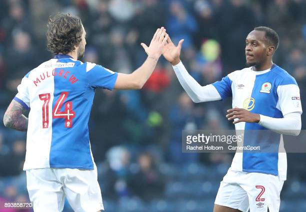 Blackburn Rovers' Charlie Mulgrew celebrates his sides first goal with Blackburn Rovers' Ryan Nyambe during the Sky Bet League One match between...