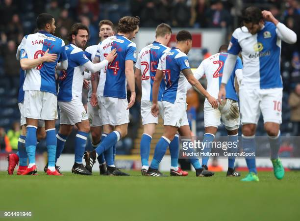 Blackburn Rovers' Charlie Mulgrew celebrates scoring his side's first goal during the Sky Bet League One match between Blackburn Rovers and...