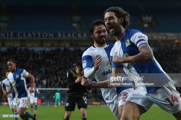Blackburn Rovers' Charlie Mulgrew celebrates scoring his side's second goal during the Sky Bet League One match between Blackburn Rovers and Rochdale...