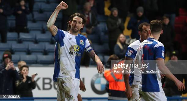 Blackburn Rovers' Charlie Mulgrew celebrates scoring his side's third goal from the penalty spot during the Sky Bet League One match between...