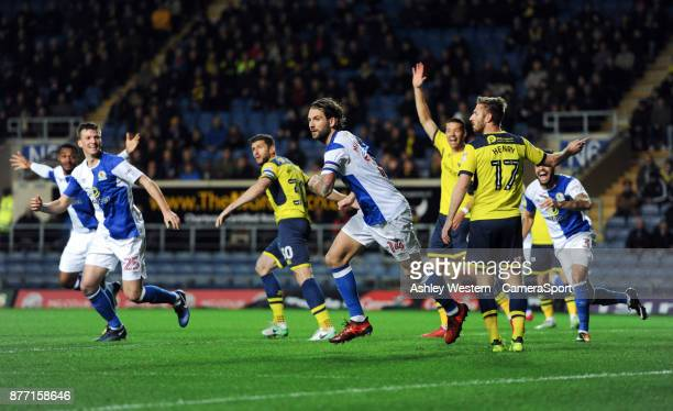 Blackburn Rovers' Charlie Mulgrew celebrates scoring the opening goal during the Sky Bet League One match between Oxford United and Blackburn Rovers...