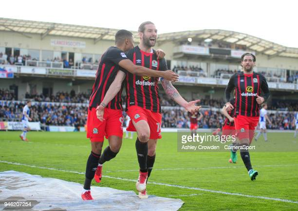 CELE Blackburn Rovers' Charlie Mulgrew celebrates scoring the opening goal during the Sky Bet League One match between Bristol Rovers and Blackburn...