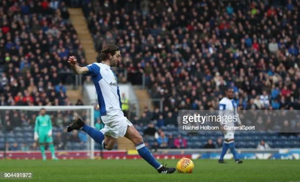 Blackburn Rovers' Charlie Mulgrew scores his side's first goal during the Sky Bet League One match between Blackburn Rovers and Shrewsbury Town at...