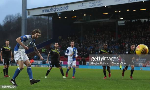 Blackburn Rovers' Charlie Mulgrew scores his side's second goal from the penalty spot during the Sky Bet League One match between Blackburn Rovers...