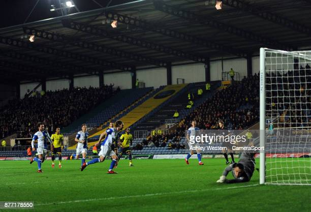 Blackburn Rovers' Charlie Mulgrew scores his side's third goal and his second from the penalty spot during the Sky Bet League One match between...