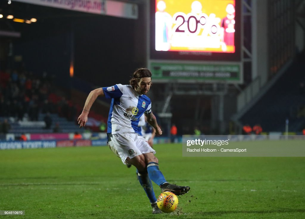 Blackburn Rovers' Charlie Mulgrew scores his side's third goal from the penalty spotduring the Sky Bet League One match between Blackburn Rovers and Shrewsbury Town at Ewood Park on January 13, 2018 in Blackburn, England.