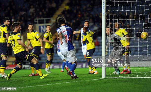 Blackburn Rovers' Charlie Mulgrew scores the opening goal during the Sky Bet League One match between Oxford United and Blackburn Rovers at Kassam...