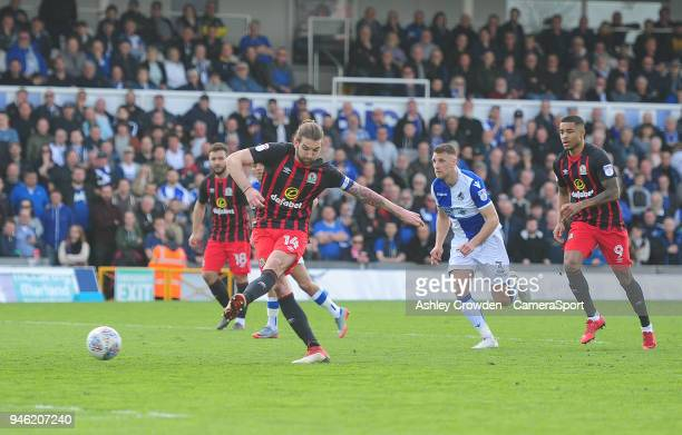 GOAL Blackburn Rovers' Charlie Mulgrew scores the opening goal during the Sky Bet League One match between Bristol Rovers and Blackburn Rovers at...