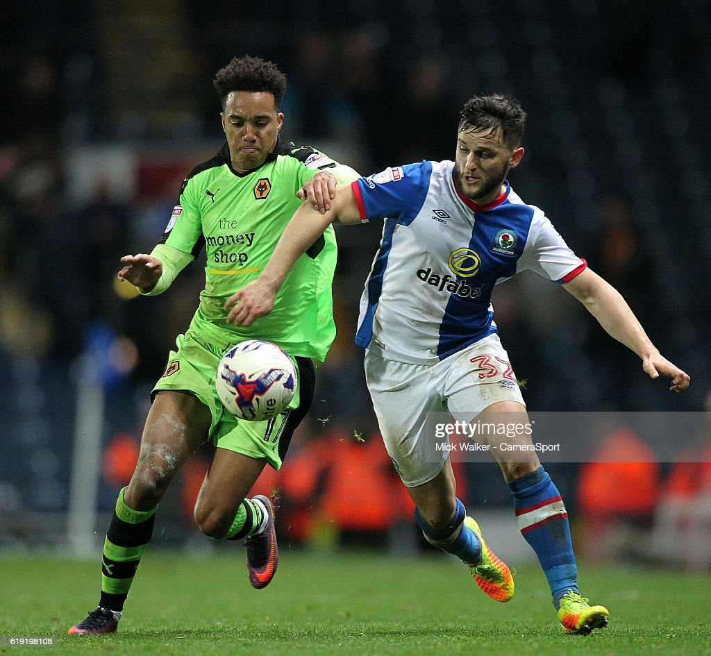Blackburn Rovers Craig Conway battles with Wolverhampton Wanderers Helder Costa during the Sky Bet Championship match between Blackburn Rovers and Wolverhampton Wanderers at Ewood Park on October 29, 2016 in Blackburn, England.