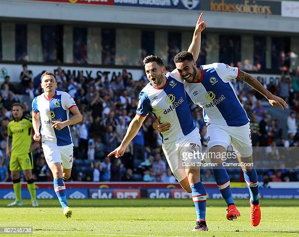 Blackburn Rovers' Craig Conway celebrates scoring his sides first goal with Derrick Williams during the Sky Bet Championship match between Blackburn...