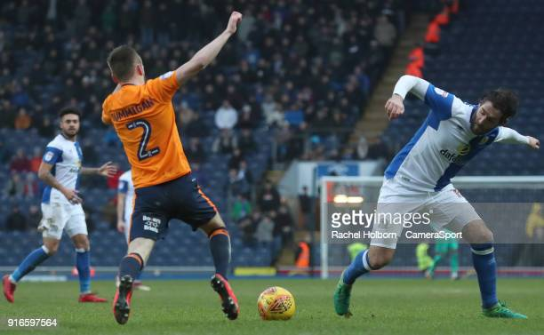 Blackburn Rovers' Danny Graham and Oldham Athletic's Cameron Dummigan during the Sky Bet League One match between Blackburn Rovers and Oldham...