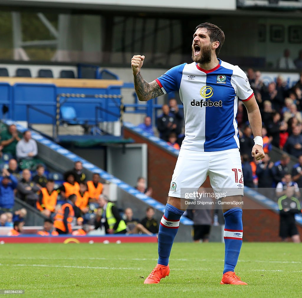 Blackburn Rovers' Danny Graham celebrates Craig Conway giving his side a 1-0 lead during the Sky Bet Championship match between Blackburn Rovers and Burton Albion at Ewood park on August 20, 2016 in Blackburn, England.