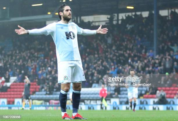 Blackburn Rovers' Danny Graham celebrates scoring his side's first goal during the Sky Bet Championship match between Birmingham City and Preston...
