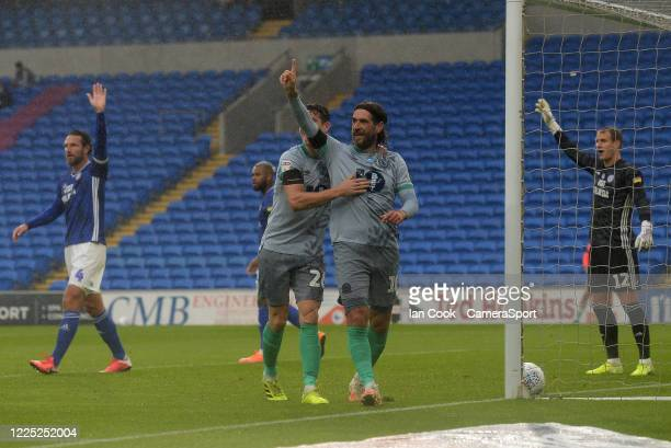 Blackburn Rovers' Danny Graham celebrates scoring his side's first goal during the Sky Bet Championship match between Cardiff City and Blackburn...