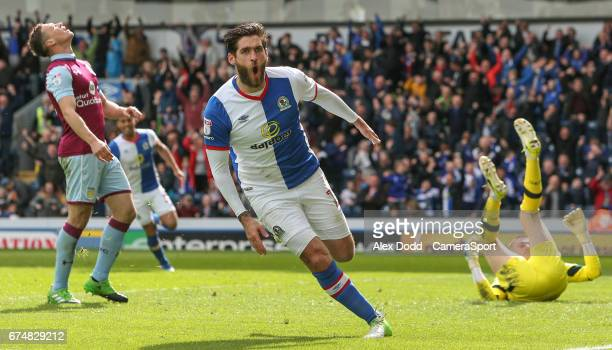 Blackburn Rovers' Danny Graham celebrates scoring his sides first goal during the Sky Bet Championship match between Blackburn Rovers and Aston Villa...