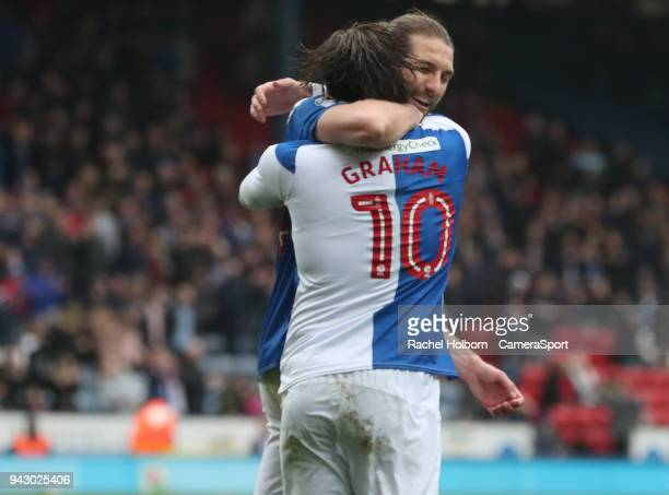 Blackburn Rovers' Danny Graham celebrates scoring his side's first goal with Blackburn Rovers' Charlie Mulgrew during the Sky Bet League One match...