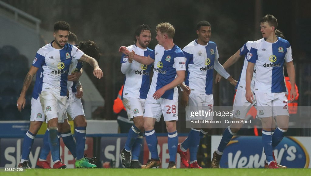Blackburn Rovers' Danny Graham celebrates scoring his side's second goal during the Sky Bet League One match between Blackburn Rovers and Charlton Athletic at Ewood Park on December 16, 2017 in Blackburn, England.