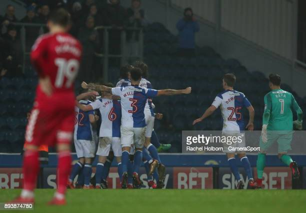 Blackburn Rovers' Danny Graham celebrates scoring his side's second goal during the Sky Bet League One match between Blackburn Rovers and Charlton...