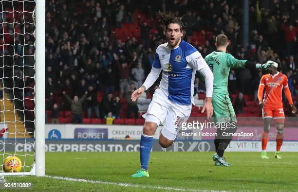 Blackburn Rovers' Danny Graham celebrates scoring his side's second goal during the Sky Bet League One match between Blackburn Rovers and Shrewsbury...