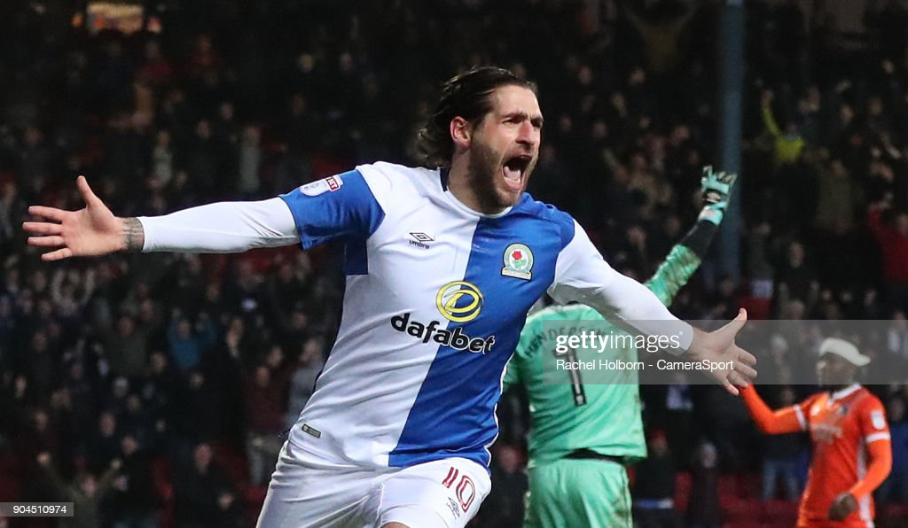 Blackburn Rovers' Danny Graham celebrates scoring his side's second goal during the Sky Bet League One match between Blackburn Rovers and Shrewsbury Town at Ewood Park on January 13, 2018 in Blackburn, England.