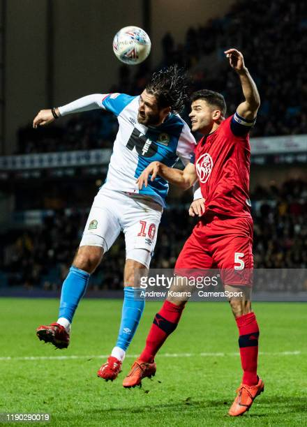 Blackburn Rovers' Danny Graham competing with Wigan Athletic's Sam Morsy during the Sky Bet Championship match between Blackburn Rovers and Wigan...