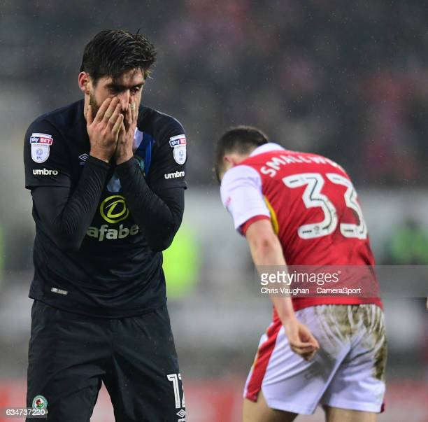 Blackburn Rovers' Danny Graham reacts after missing a chance to score during the Sky Bet Championship match between Rotherham United and Blackburn...