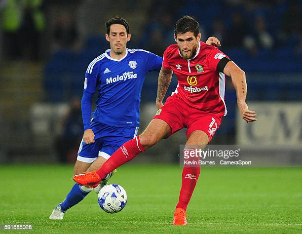Blackburn Rovers' Danny Graham under pressure from Cardiff City's Peter Whittingham during the Sky Bet Championship match between Cardiff and...