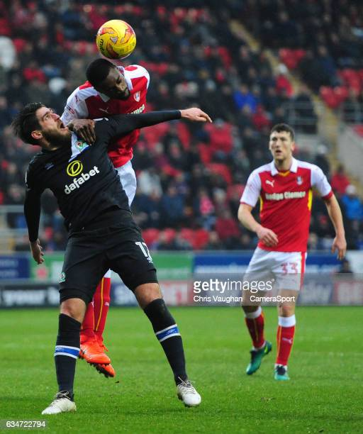 Blackburn Rovers' Danny Graham vies for possession with Rotherham United's Semi Ajayi during the Sky Bet Championship match between Rotherham United...