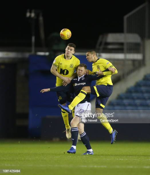 Blackburn Rovers' Darragh Lenihan and Jack Rodwell challenge Millwall's Aiden O'Brien during the Sky Bet Championship match between Millwall and...