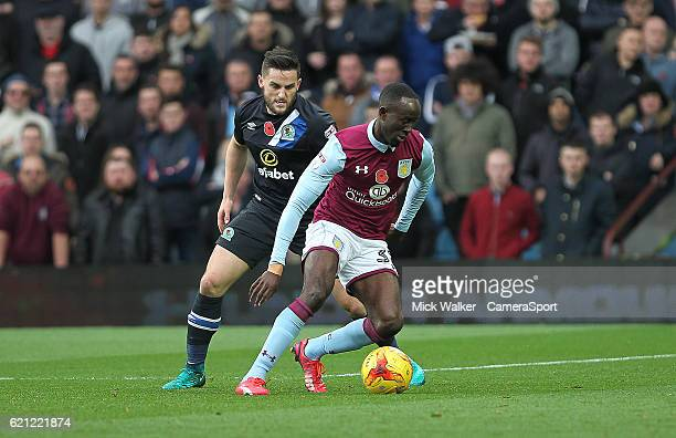 Blackburn Rovers Darragh Lenihan battles with Aston Villa's Albert Adomah during the Sky Bet Championship match between Aston Villa and Blackburn...