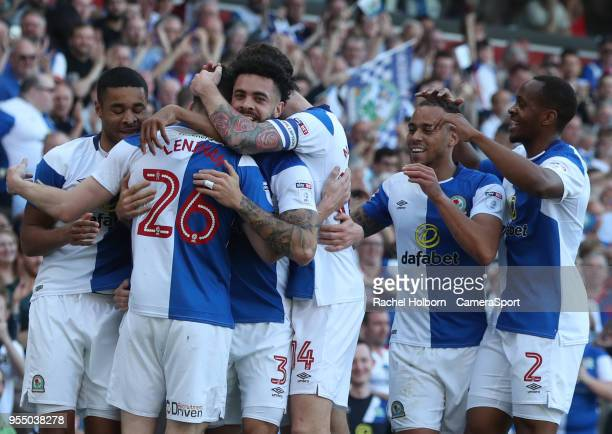 Blackburn Rovers' Darragh Lenihan celebrates scoring his side's first goal during the Sky Bet League One match between Blackburn Rovers and Oxford...