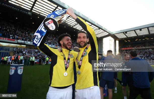 Blackburn Rovers' Derrick Williams and Blackburn Rovers' Charlie Mulgrew celebrate at the end of todays match during the Sky Bet League One match...