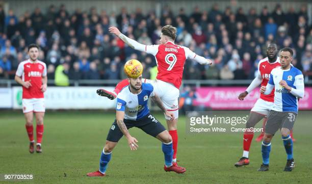Blackburn Rovers' Derrick Williams and Fleetwood Town's Wes Burns during the Sky Bet League One match between Fleetwood Town and Blackburn Rovers at...