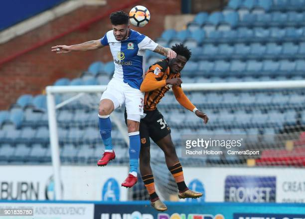 Blackburn Rovers' Derrick Williams and Hull City's Ola Aina during the Emirates FA Cup Third Round match between Blackburn Rovers and Hull City at...
