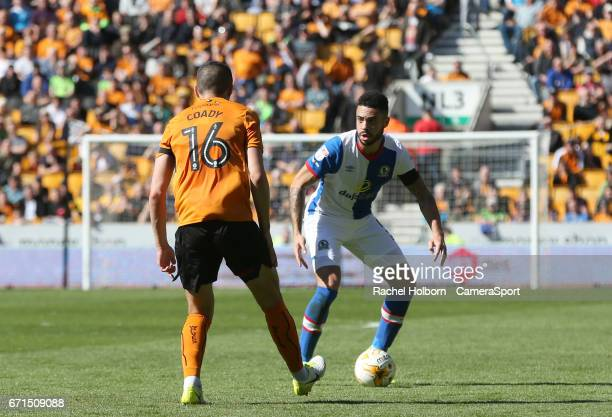 Blackburn Rovers' Derrick Williams and Wolverhampton Wanderers' Conor Coady during the Sky Bet Championship match between Wolverhampton Wanderers and...