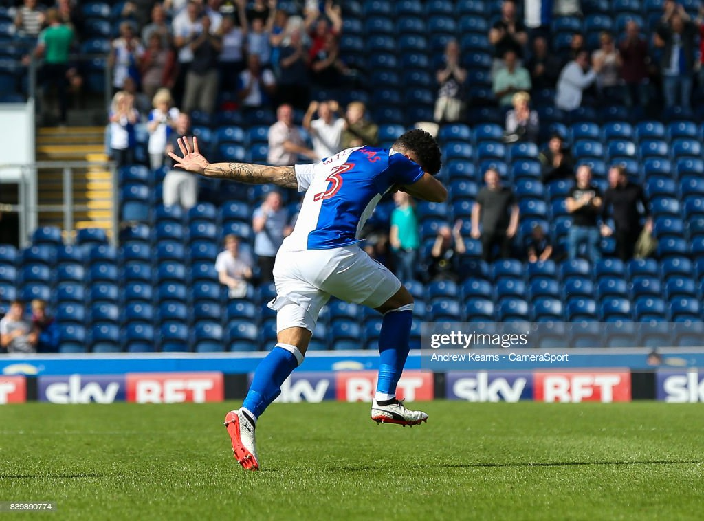 Blackburn Rovers' Derrick Williams scores his side's first goal during the Sky Bet League One match between Blackburn Rovers and Milton Keynes Dons at Ewood Park on August 26, 2017 in Blackburn, England.