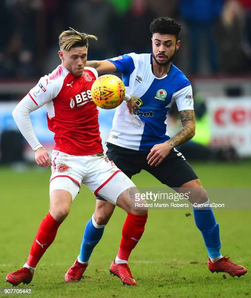 Blackburn Rovers' Derrick Williams vies for possession with Fleetwood Town's Wes Burns during the Sky Bet League One match between Fleetwood Town and...
