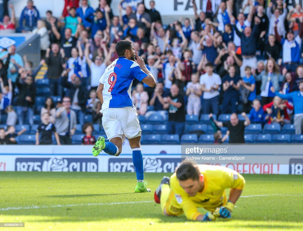 Blackburn Rovers' Dominic Samuel celebrates scoring their fourth goal during the Sky Bet League One match between Blackburn Rovers and Milton Keynes Dons at Ewood Park on August 26, 2017 in Blackburn, England.