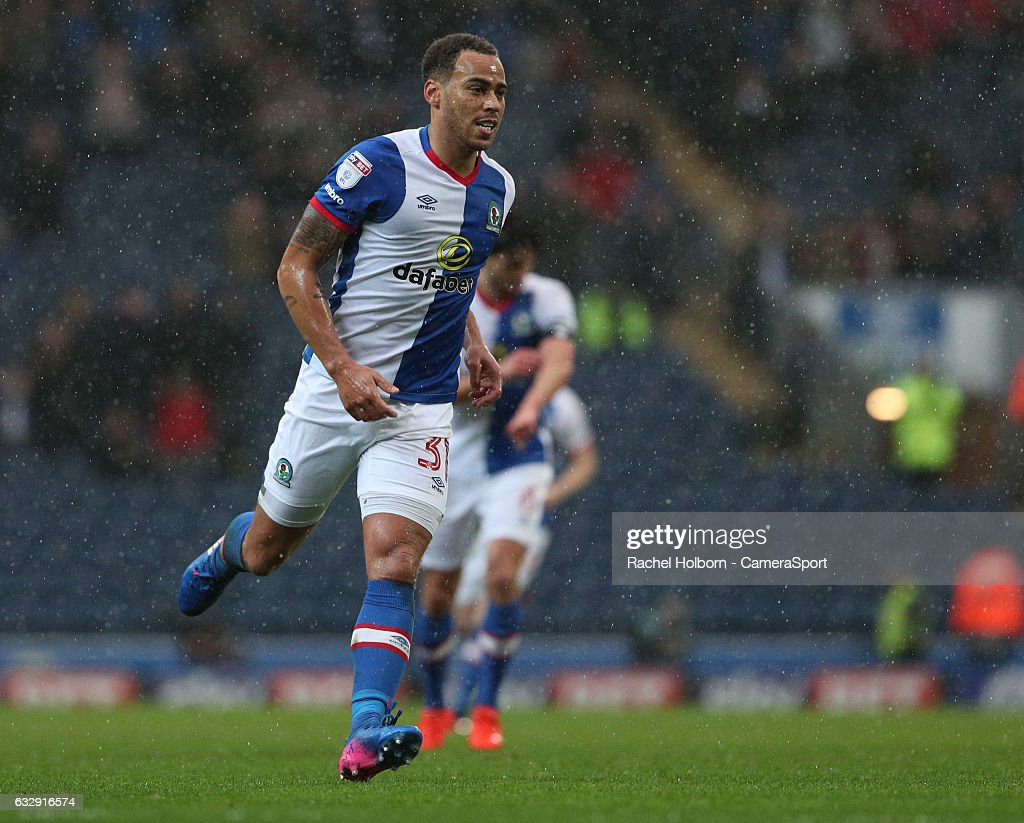 Blackburn Rovers' Elliott Bennett celebrates scoring his sides second goal during the Emirates FA Cup Fourth Round match between Blackburn Rovers and Blackpool at Ewood Park on January 28, 2017 in Blackburn, England.