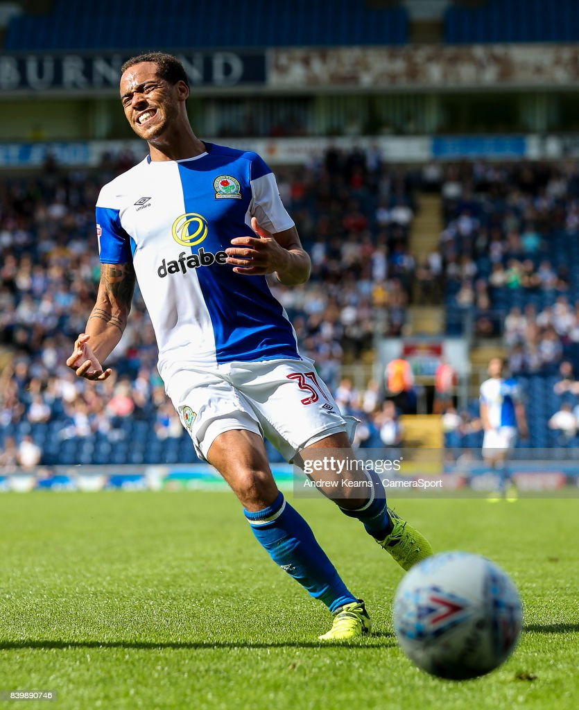 Blackburn Rovers' Elliott Bennett despairs as he can't quite stop the ball going out during the Sky Bet League One match between Blackburn Rovers and Milton Keynes Dons at Ewood Park on August 26, 2017 in Blackburn, England.