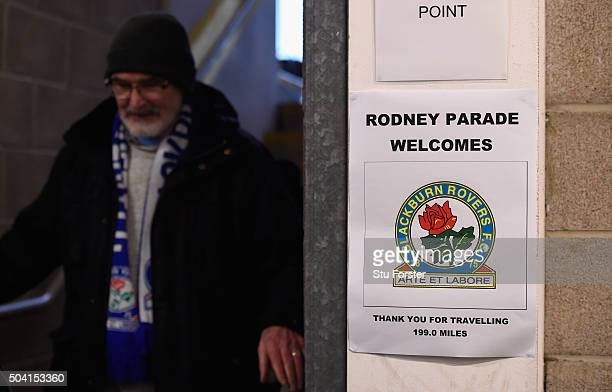 Blackburn Rovers fan makes his way home after The Emirates FA Cup Third Round match between Newport County AFC and Blackburn Rovers is postponed at...