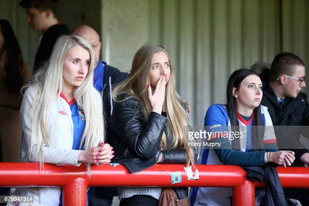 Blackburn Rovers fans look dejected the Sky Bet Championship match between Brentford and Blackburn Rovers at Griffin Park on May 7 2017 in Brentford...