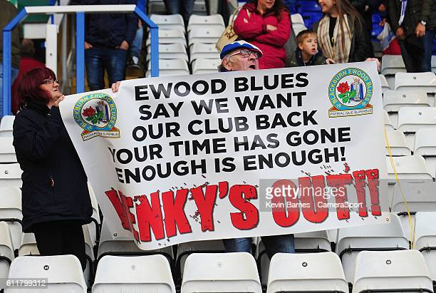 Blackburn Rovers fans protest against the clubs owners during the Sky Bet Championship match between Birmingham City and Blackburn Rovers at St...