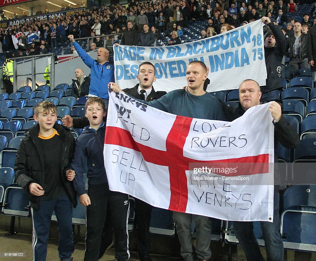 Blackburn Rovers Fans protest at the ownership of their club by Venky's London Limited by staging the '1875' protest during the Sky Bet Championship match between Blackburn Rovers and Wolverhampton Wanderers at Ewood Park on October 29, 2016 in Blackburn, England.
